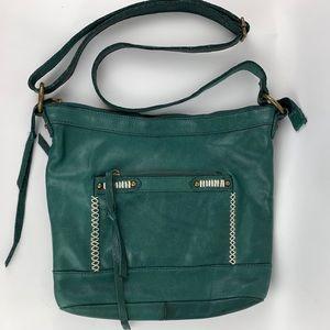 Fossil Crossbody Bag LEATHER Satchel Purse Green